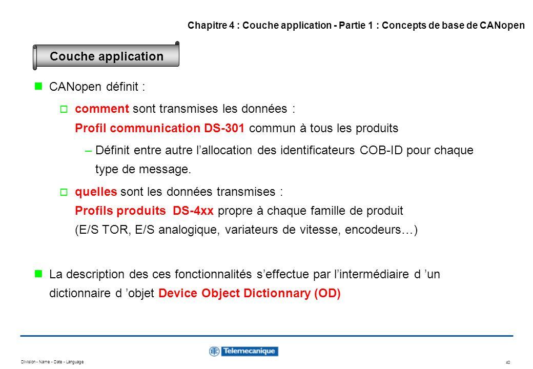 Division - Name - Date - Language 40 CANopen définit : comment sont transmises les données : Profil communication DS-301 commun à tous les produits –D