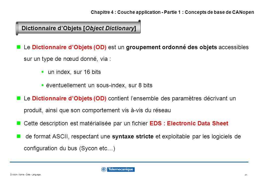 Division - Name - Date - Language 41 Le Dictionnaire dObjets (OD) est un groupement ordonné des objets accessibles sur un type de nœud donné, via : un