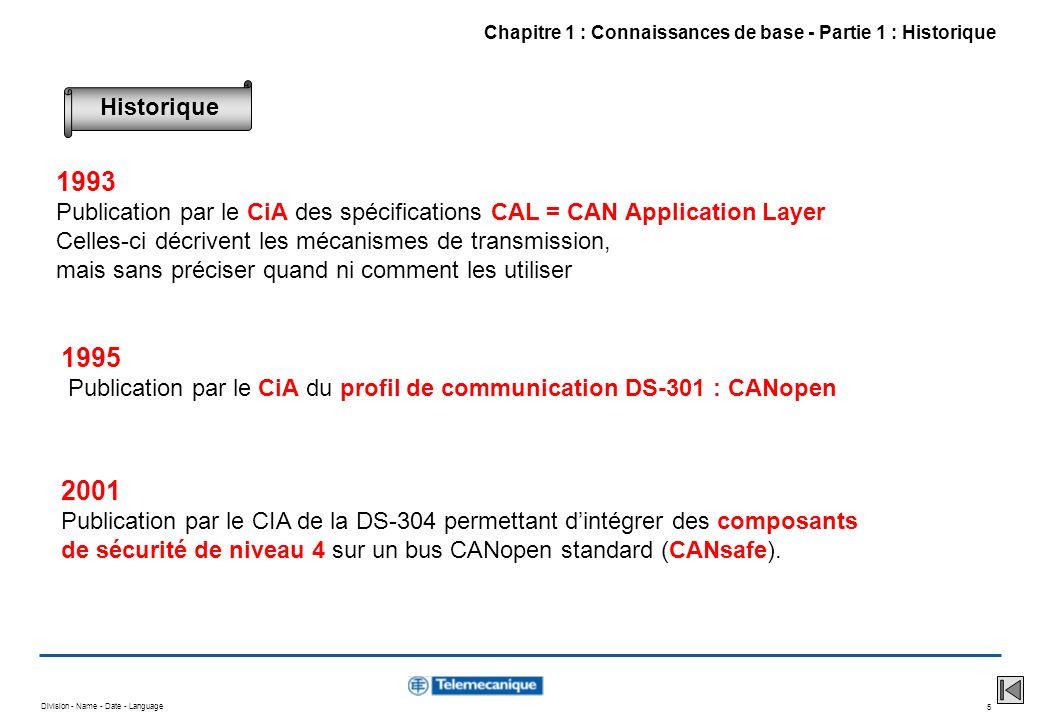 Division - Name - Date - Language 6 CANopen a été bâti chronologiquement à partir de plusieurs spécifications : CAN 2.0 A et B (origine Robert BOSCH) Définit précisément la couche liaison et une partie de la couche physique Chapitre 1 : Connaissances de base - Partie 2 : Caractéristiques principales CAL = CAN Application Layer (CiA) Fournit des outils permettant de développer une application utilisant CAN sans mode demploi + précisions sur la couche physique CANopen (CiA) Définit quels outils CAL utiliser et comment Garantit linteropérabilité des produits par la description de profiles Les spécifications de référence
