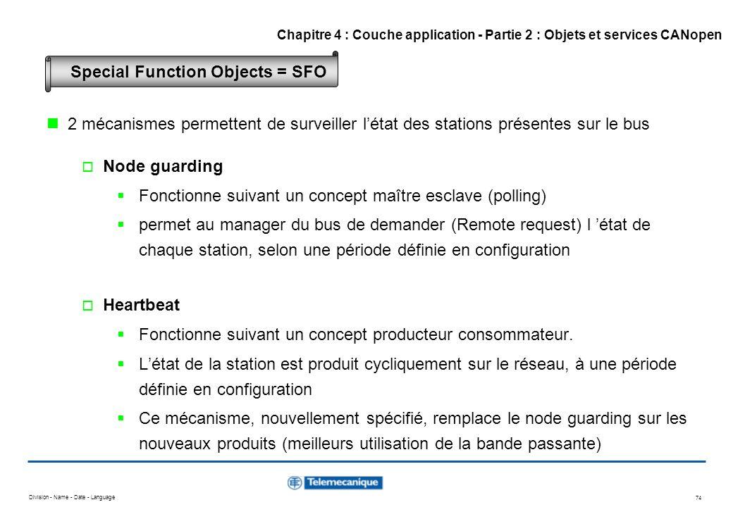 Division - Name - Date - Language 74 2 mécanismes permettent de surveiller létat des stations présentes sur le bus Node guarding Fonctionne suivant un