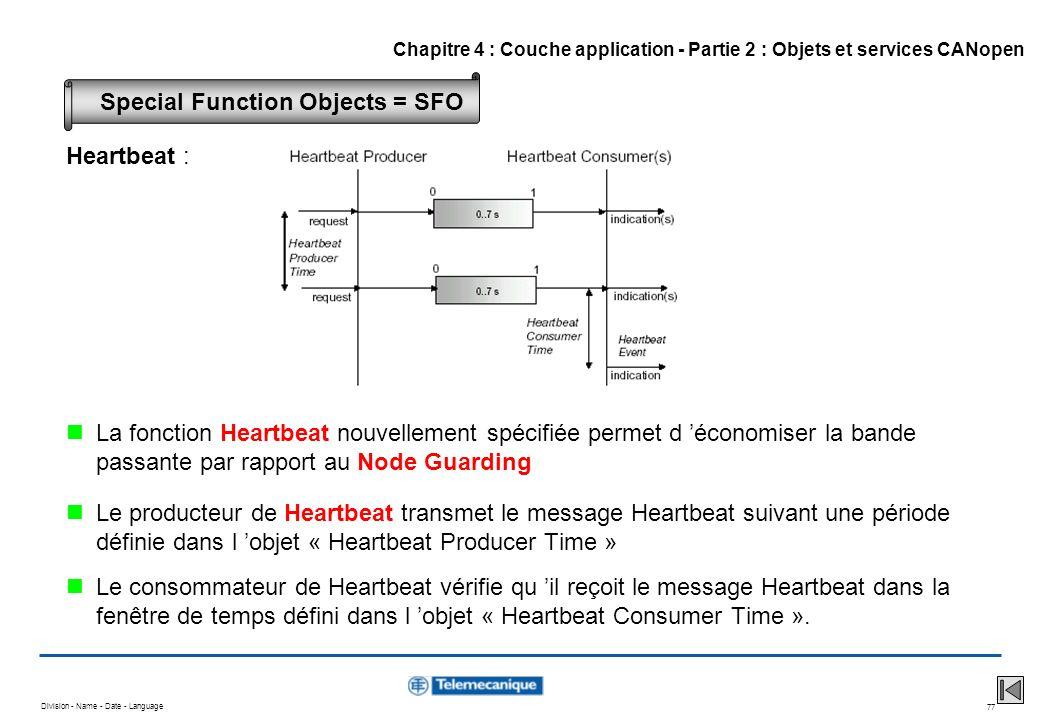 Division - Name - Date - Language 77 Heartbeat : La fonction Heartbeat nouvellement spécifiée permet d économiser la bande passante par rapport au Nod