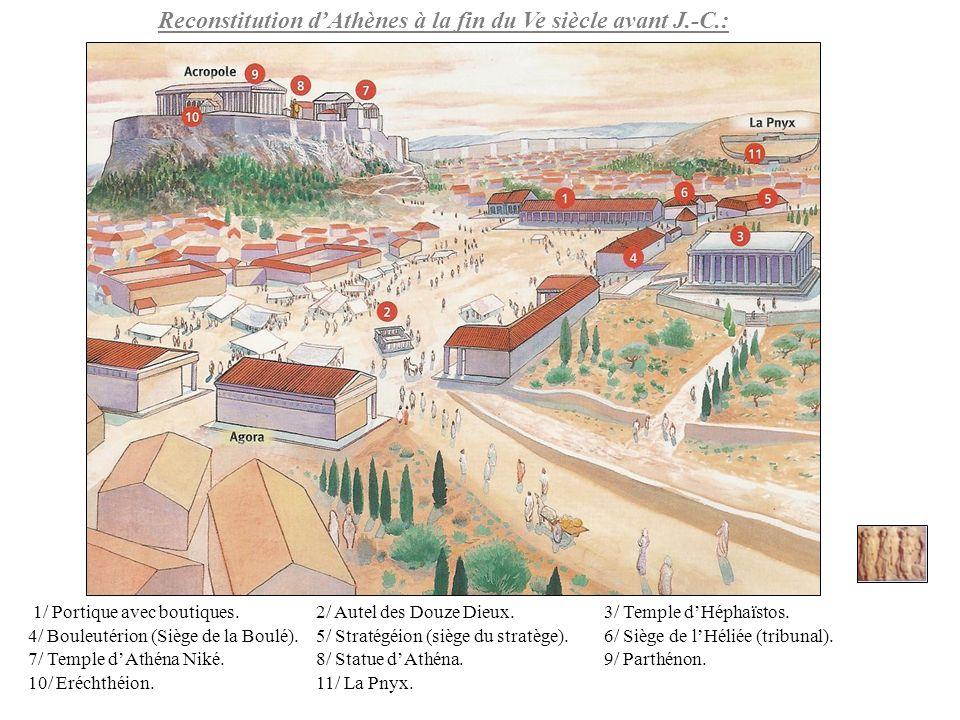 1/ Portique avec boutiques.2/ Autel des Douze Dieux.3/ Temple dHéphaïstos. 4/ Bouleutérion (Siège de la Boulé).5/ Stratégéion (siège du stratège).6/ S
