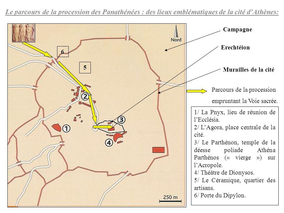 5 6 1/ La Pnyx, lieu de réunion de lEcclésia. 2/ LAgora, place centrale de la cité. 3/ Le Parthénon, temple de la déesse poliade Athéna Parthénos (« v