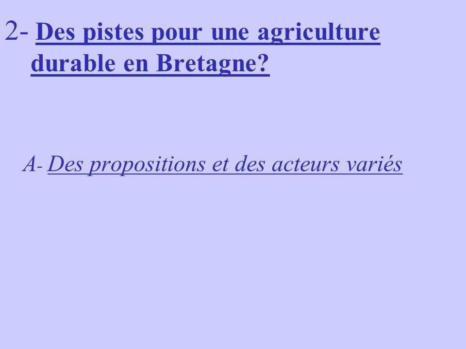 2- Des pistes pour une agriculture durable en Bretagne? A - Des propositions et des acteurs variés