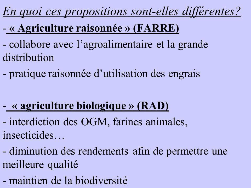 En quoi ces propositions sont-elles différentes? - « Agriculture raisonnée » (FARRE) - collabore avec lagroalimentaire et la grande distribution - pra