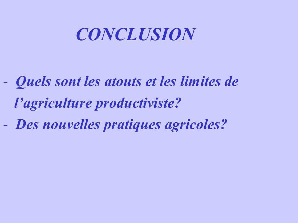 CONCLUSION - Quels sont les atouts et les limites de lagriculture productiviste? - Des nouvelles pratiques agricoles?