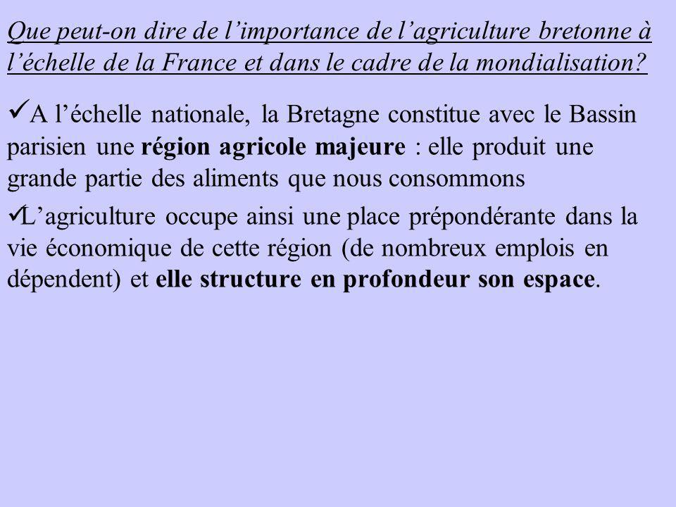 Que peut-on dire de limportance de lagriculture bretonne à léchelle de la France et dans le cadre de la mondialisation? A léchelle nationale, la Breta