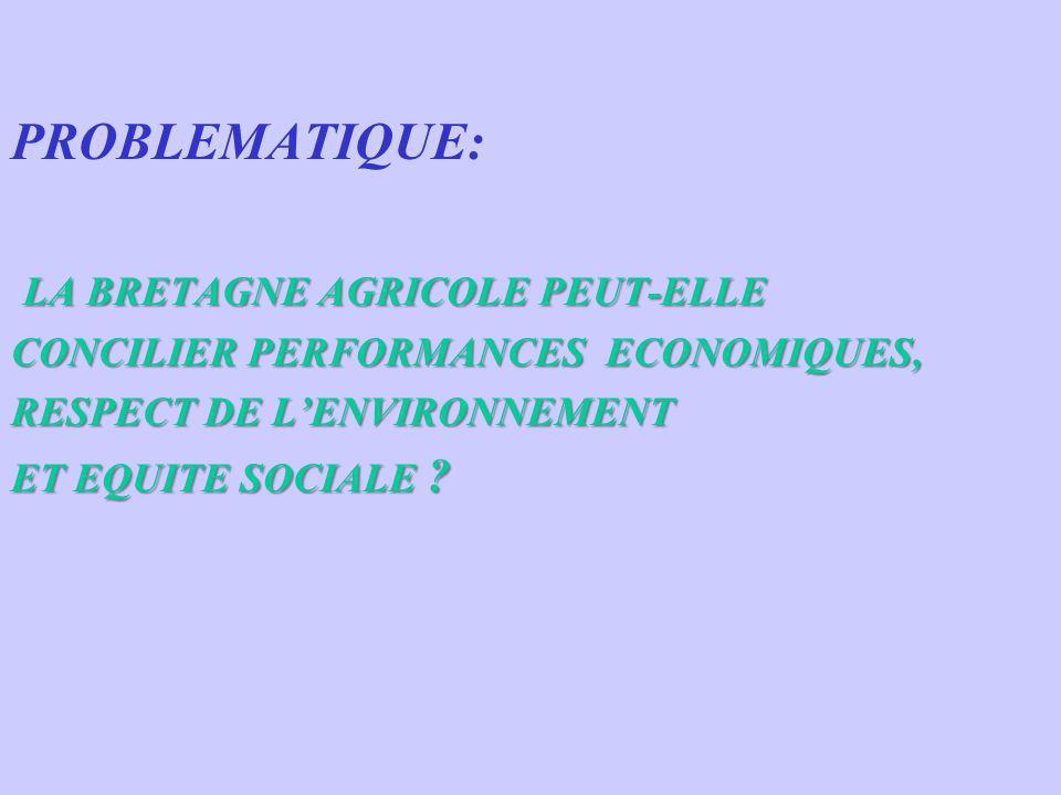 PROBLEMATIQUE: LA BRETAGNE AGRICOLE PEUT-ELLE LA BRETAGNE AGRICOLE PEUT-ELLE CONCILIER PERFORMANCES ECONOMIQUES, RESPECT DE LENVIRONNEMENT ET EQUITE S