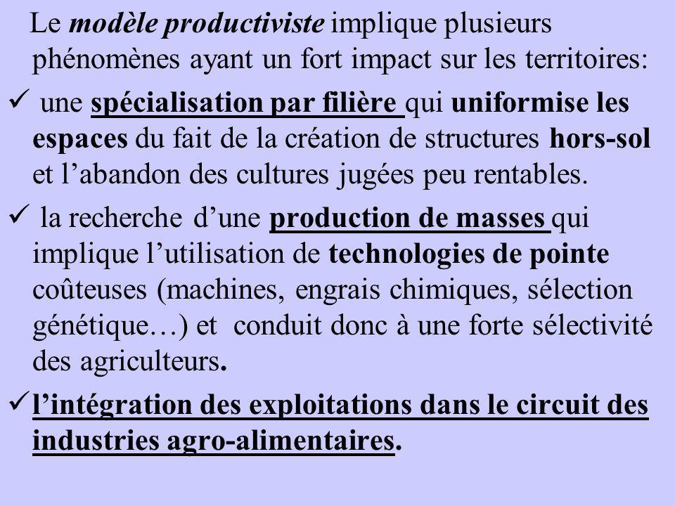Le modèle productiviste implique plusieurs phénomènes ayant un fort impact sur les territoires: une spécialisation par filière qui uniformise les espa