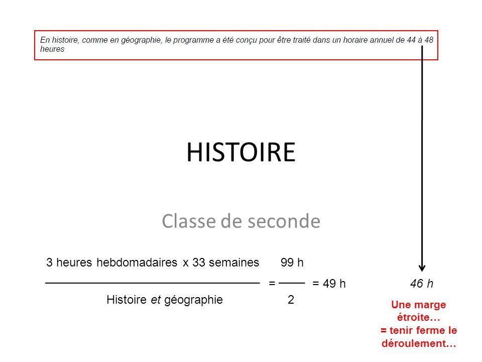 HISTOIRE Classe de seconde 3 heures hebdomadaires x 33 semaines 99 h = = 49 h 46 h Histoire et géographie 2 Une marge étroite… = tenir ferme le déroul