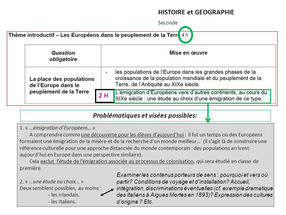 HISTOIRE et GEOGRAPHIE Seconde 2 H Problématiques et visées possibles: 1. « …émigration dEuropéens… » A comprendre comme une découverte pour les élève