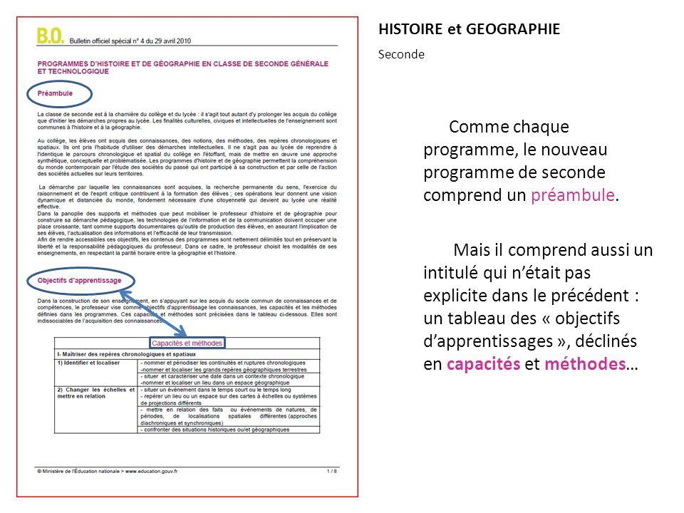 HISTOIRE et GEOGRAPHIE Comme chaque programme, le nouveau programme de seconde comprend un préambule. Mais il comprend aussi un intitulé qui nétait pa