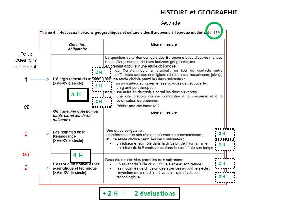 HISTOIRE et GEOGRAPHIE Seconde + 2 H : 2 évaluations ou 5 H 4 H 2 H 1 H 2 H Deux questions seulement : 1 et 2 ou 2