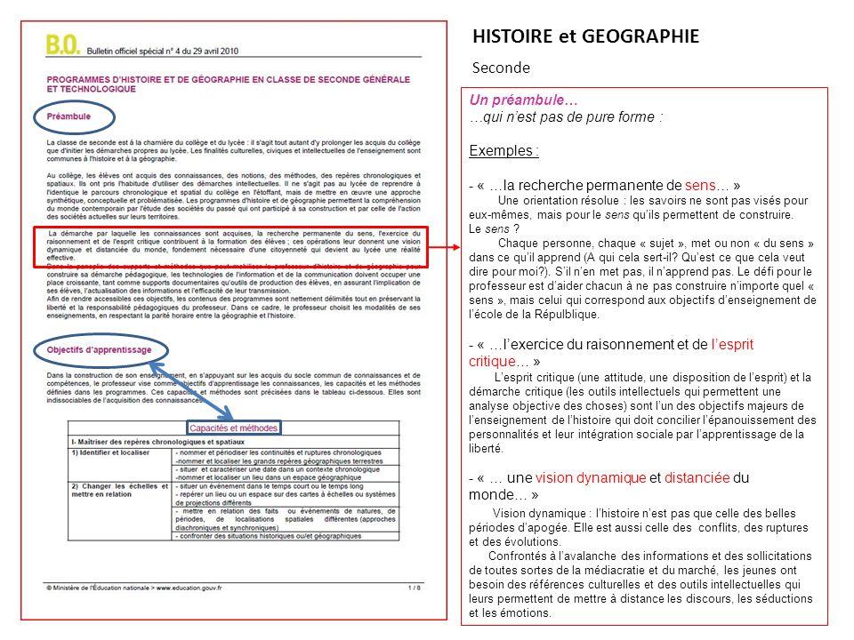 HISTOIRE et GEOGRAPHIE Seconde Un préambule… …qui nest pas de pure forme : Exemples : - « …la recherche permanente de sens… » Une orientation résolue