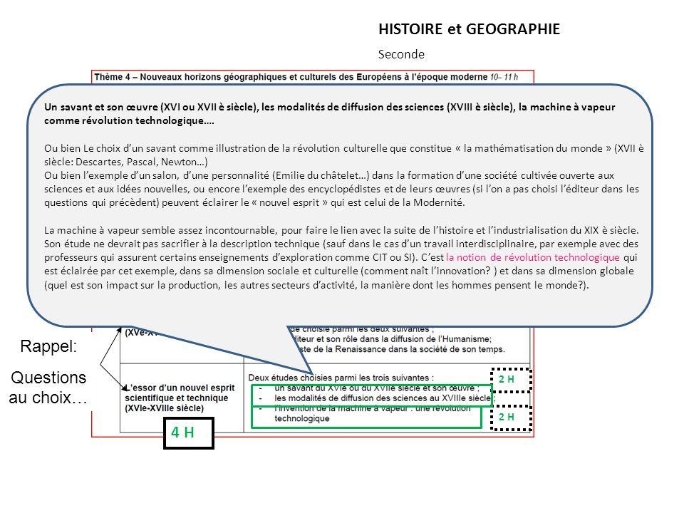 HISTOIRE et GEOGRAPHIE Seconde ou 5 H 2 H 1 H 2 H D Un savant et son œuvre (XVI ou XVII è siècle), les modalités de diffusion des sciences (XVIII è si