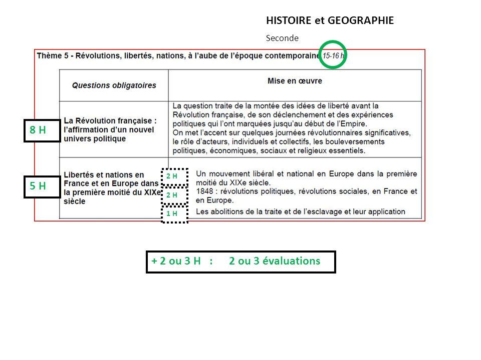 HISTOIRE et GEOGRAPHIE Seconde + 2 ou 3 H : 2 ou 3 évaluations 5 H 8 H 1 H 2 H