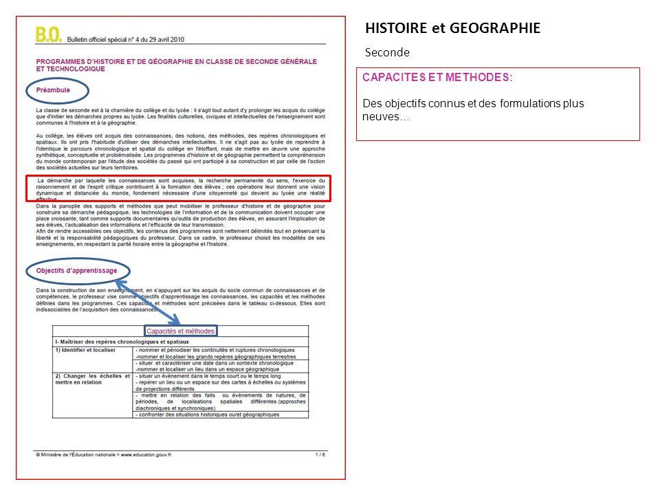 HISTOIRE et GEOGRAPHIE Seconde CAPACITES ET METHODES: Des objectifs connus et des formulations plus neuves…