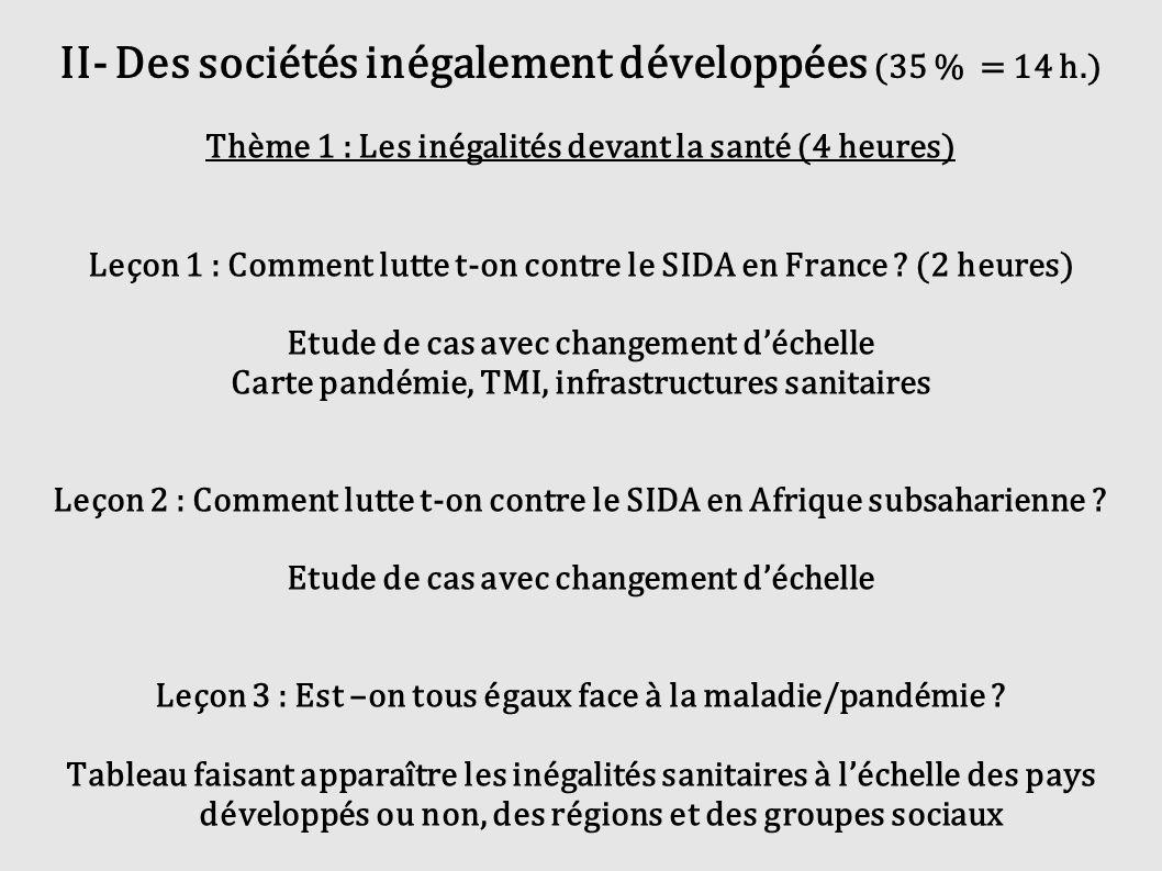 II- Des sociétés inégalement développées (35 % = 14 h.) Thème 1 : Les inégalités devant la santé (4 heures) Leçon 1 : Comment lutte t-on contre le SID
