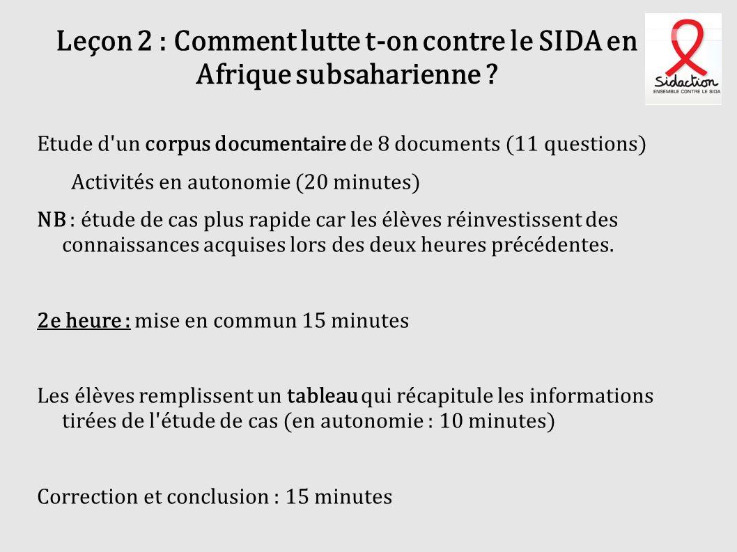Leçon 2 : Comment lutte t-on contre le SIDA en Afrique subsaharienne ? Etude d'un corpus documentaire de 8 documents (11 questions) Activités en auton