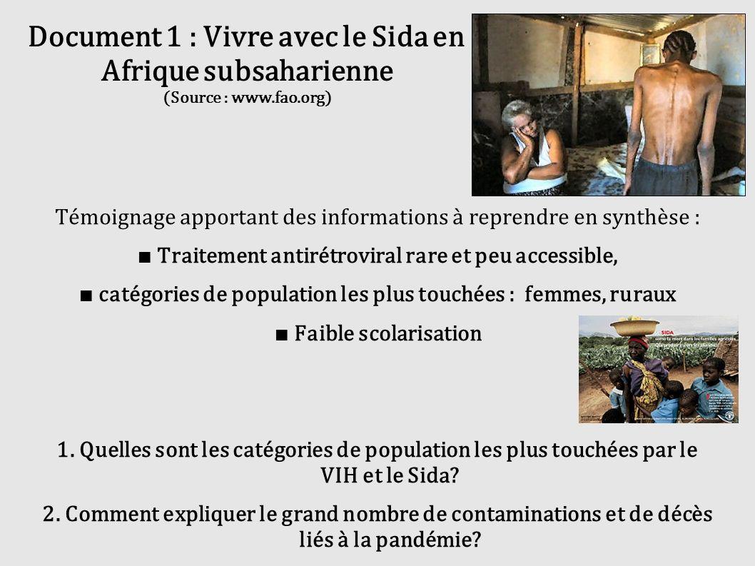 Document 1 : Vivre avec le Sida en Afrique subsaharienne (Source : www.fao.org) Témoignage apportant des informations à reprendre en synthèse : Traite