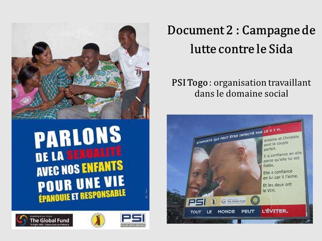 Document 2 : Campagne de lutte contre le Sida PSI Togo : organisation travaillant dans le domaine social