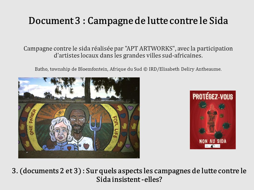Document 3 : Campagne de lutte contre le Sida Campagne contre le sida réalisée par