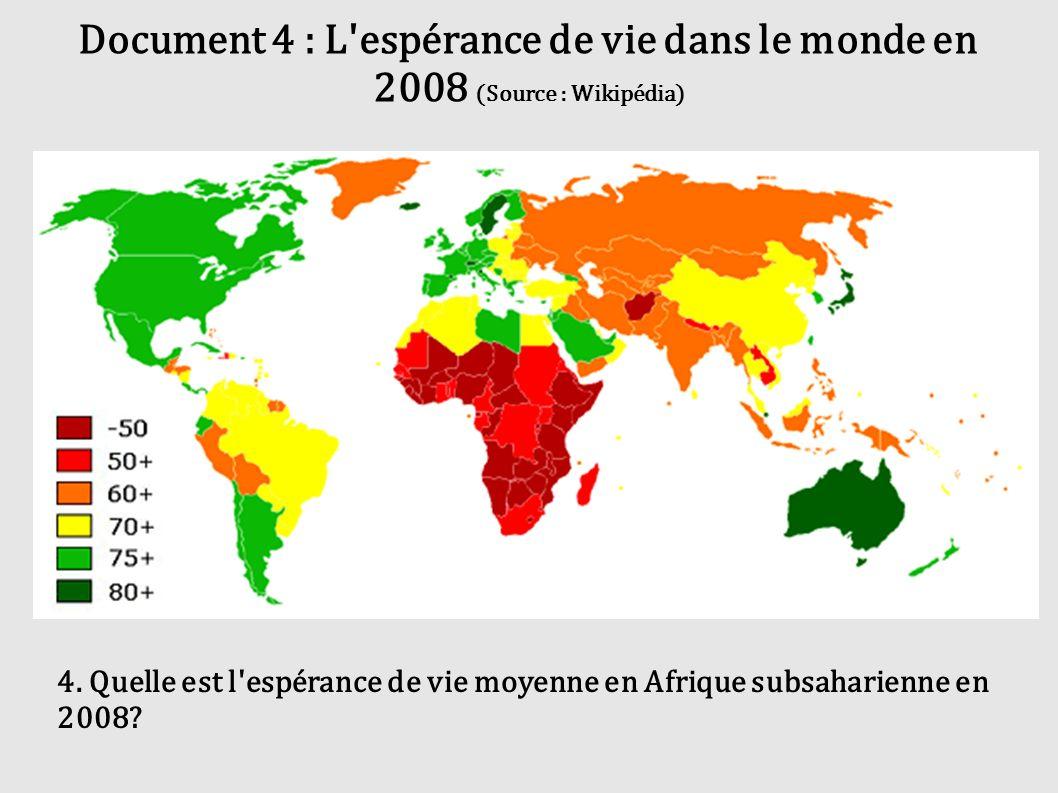 Document 4 : L'espérance de vie dans le monde en 2008 (Source : Wikipédia) 4. Quelle est l'espérance de vie moyenne en Afrique subsaharienne en 2008?