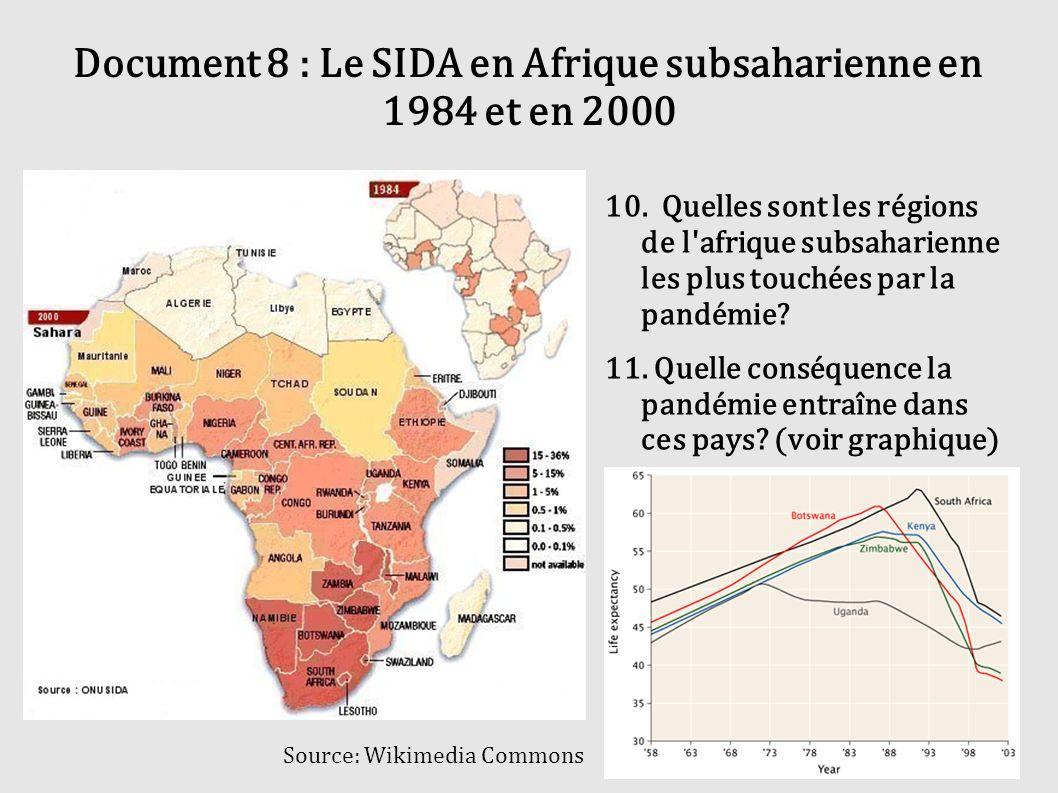 Document 8 : Le SIDA en Afrique subsaharienne en 1984 et en 2000 10. Quelles sont les régions de l'afrique subsaharienne les plus touchées par la pand