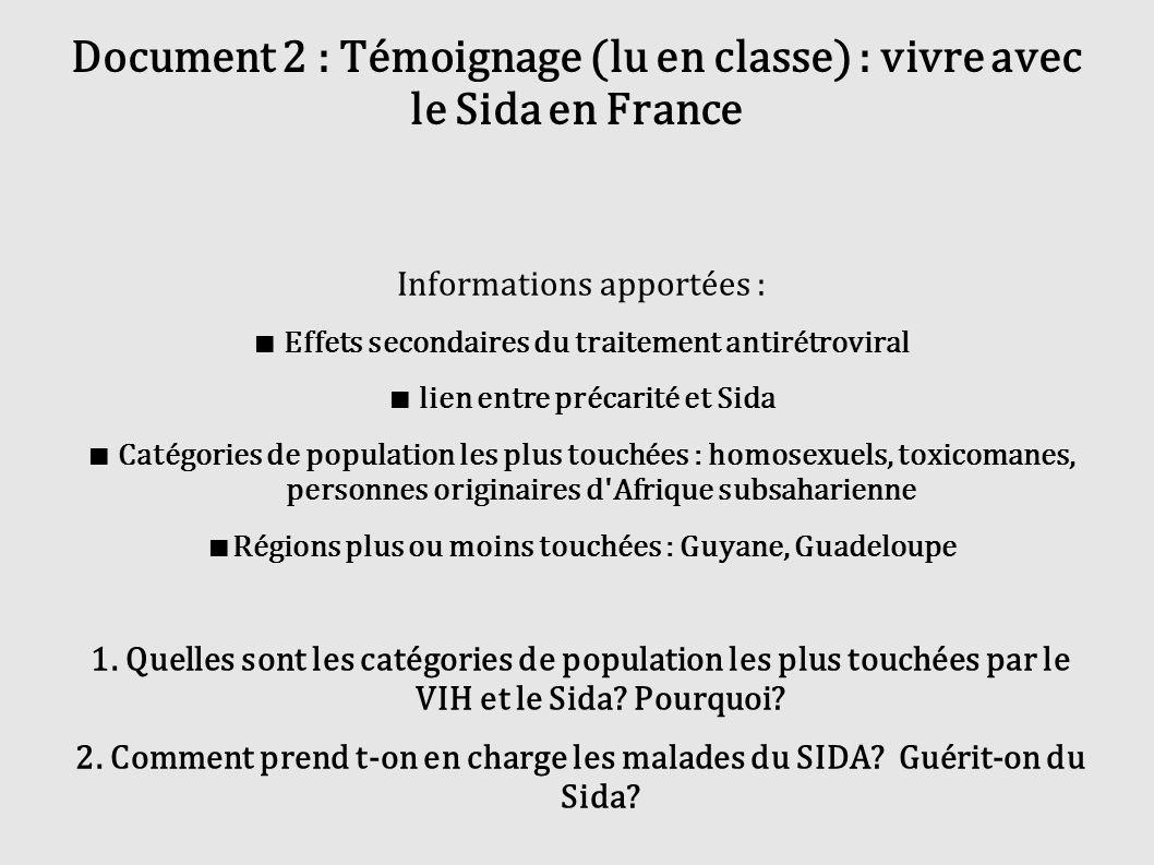 Document 2 : Témoignage (lu en classe) : vivre avec le Sida en France Informations apportées : Effets secondaires du traitement antirétroviral lien en