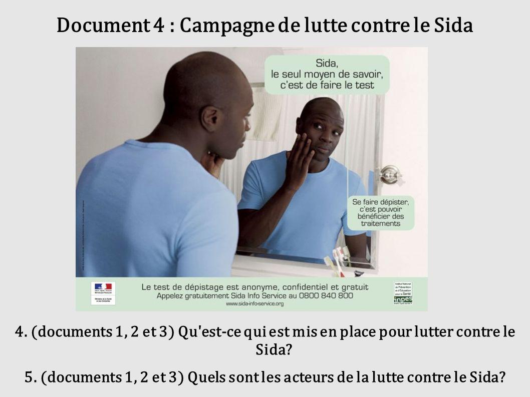 Document 4 : Campagne de lutte contre le Sida 4. (documents 1, 2 et 3) Qu'est-ce qui est mis en place pour lutter contre le Sida? 5. (documents 1, 2 e