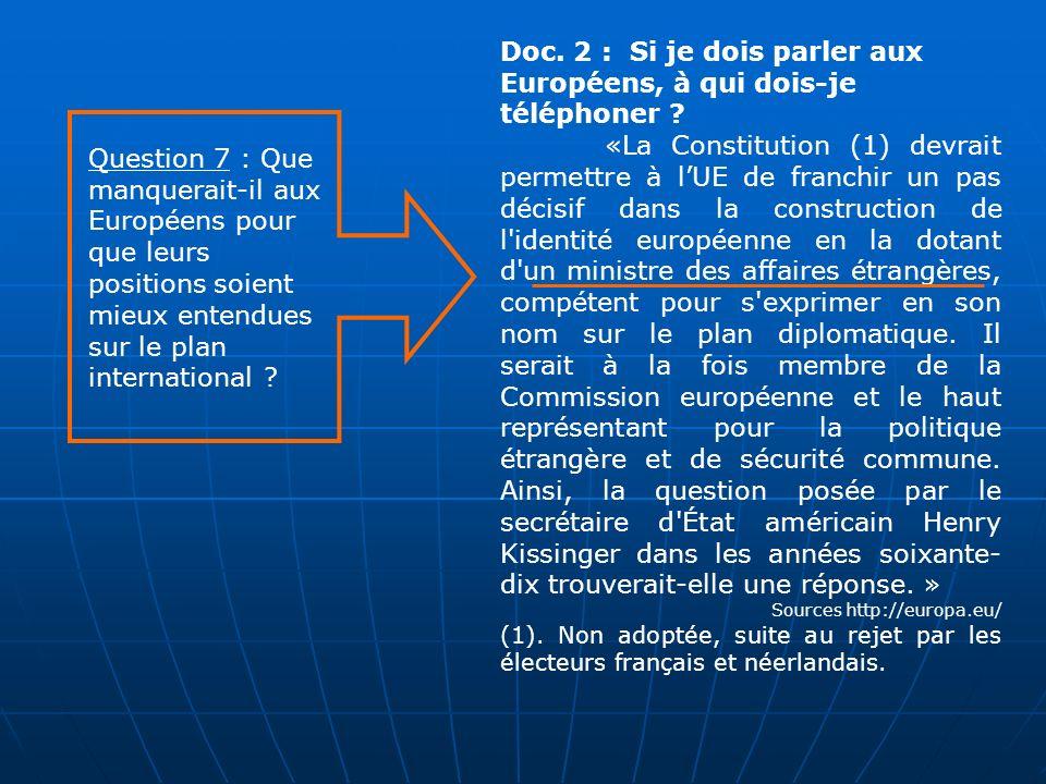 Doc. 2 : Si je dois parler aux Européens, à qui dois-je téléphoner ? «La Constitution (1) devrait permettre à lUE de franchir un pas décisif dans la c