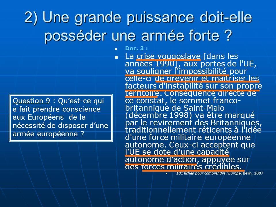 2) Une grande puissance doit-elle posséder une armée forte ? Doc. 3 : La crise yougoslave [dans les années 1990], aux portes de l'UE, va souligner l'i