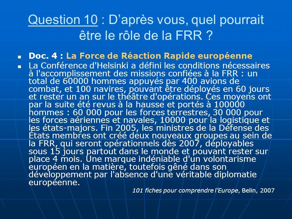 Question 10 : Daprès vous, quel pourrait être le rôle de la FRR ? Doc. 4 : La Force de Réaction Rapide européenne La Conférence d'Helsinki a défini le