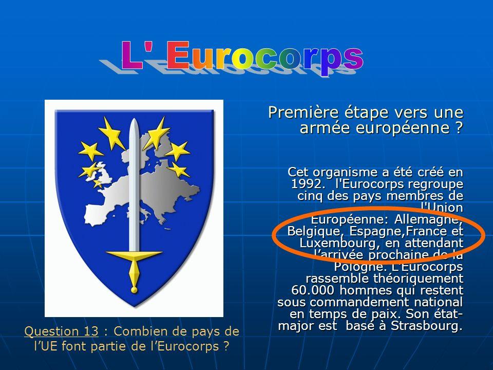 Première étape vers une armée européenne ? Cet organisme a été créé en 1992. l'Eurocorps regroupe cinq des pays membres de l'Union Européenne: Allemag