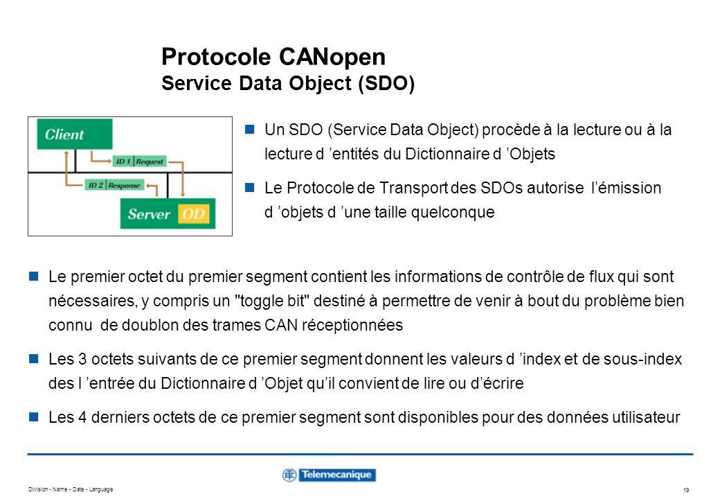 Division - Name - Date - Language 19 Protocole CANopen Service Data Object (SDO) Un SDO (Service Data Object) procède à la lecture ou à la lecture d e