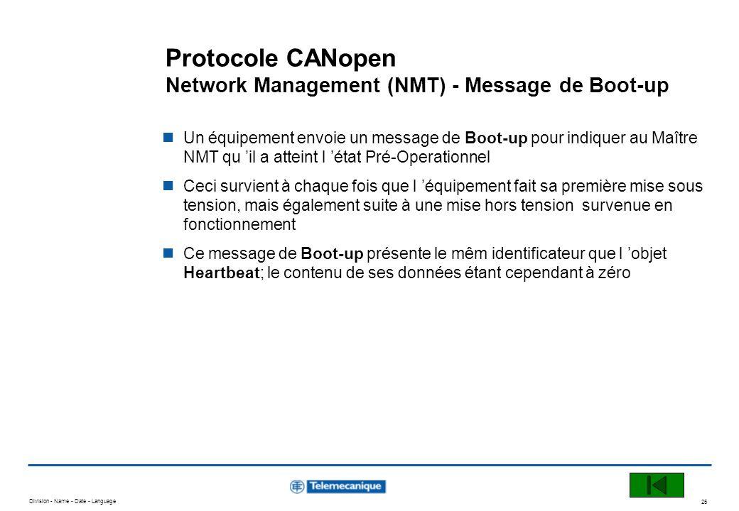 Division - Name - Date - Language 25 Protocole CANopen Network Management (NMT) - Message de Boot-up Un équipement envoie un message de Boot-up pour i