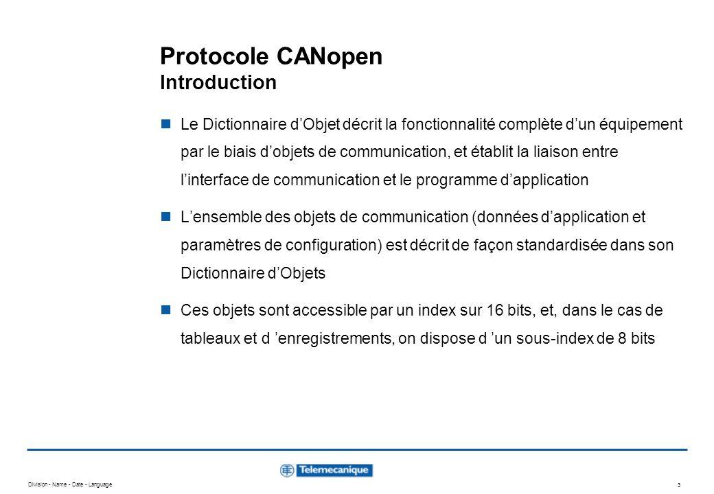 Division - Name - Date - Language 3 Protocole CANopen Introduction Le Dictionnaire dObjet décrit la fonctionnalité complète dun équipement par le biai