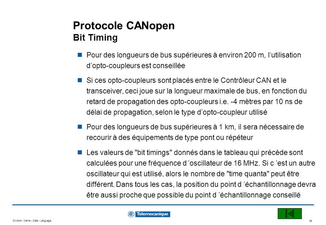 Division - Name - Date - Language 35 Protocole CANopen Bit Timing Pour des longueurs de bus supérieures à environ 200 m, lutilisation dopto-coupleurs