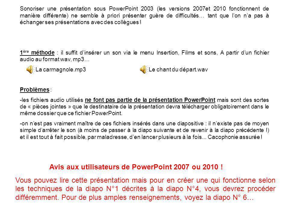 Sonoriser une présentation sous PowerPoint 2003 (les versions 2007et 2010 fonctionnent de manière différente) ne semble à priori présenter guère de difficultés… tant que lon na pas à échanger ses présentations avec des collègues .