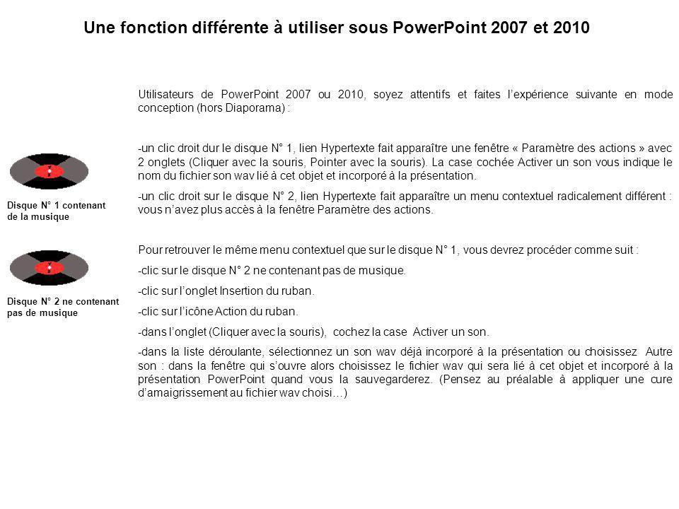 Une fonction différente à utiliser sous PowerPoint 2007 et 2010 Utilisateurs de PowerPoint 2007 ou 2010, soyez attentifs et faites lexpérience suivante en mode conception (hors Diaporama) : -un clic droit dur le disque N° 1, lien Hypertexte fait apparaître une fenêtre « Paramètre des actions » avec 2 onglets (Cliquer avec la souris, Pointer avec la souris).