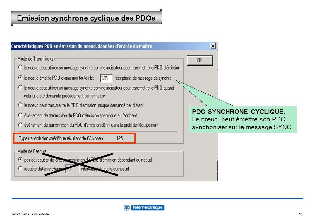 Division - Name - Date - Language 16 PDO SYNCHRONE CYCLIQUE: Le nœud peut émettre son PDO synchoniser sur le message SYNC Emission synchrone cyclique