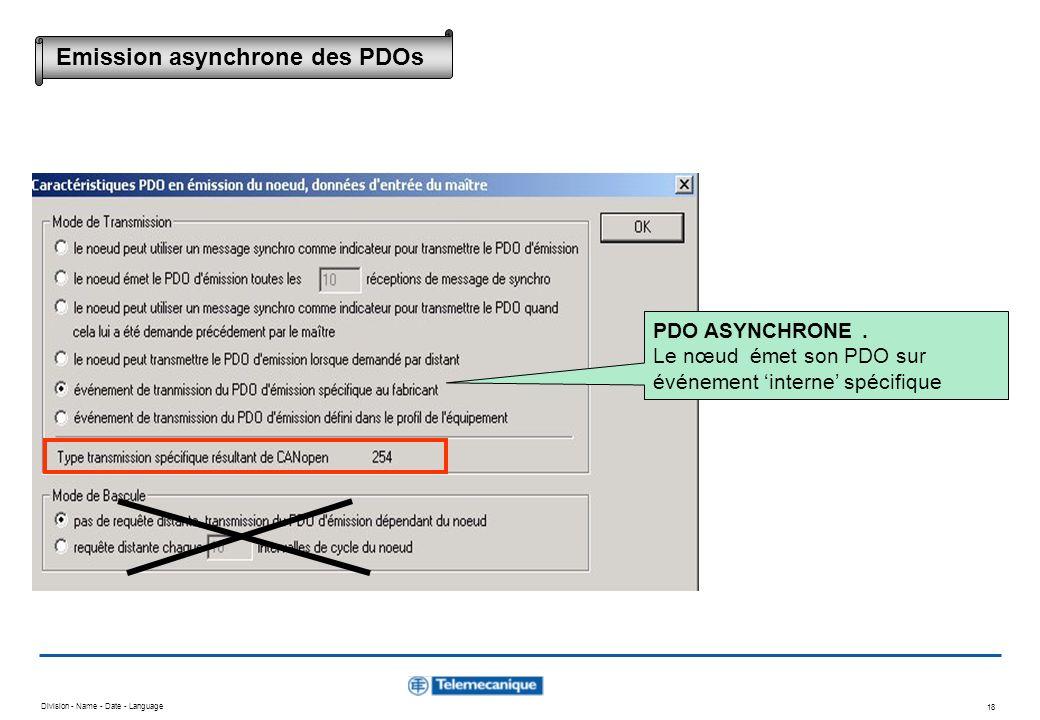 Division - Name - Date - Language 18 Emission asynchrone des PDOs PDO ASYNCHRONE. Le nœud émet son PDO sur événement interne spécifique