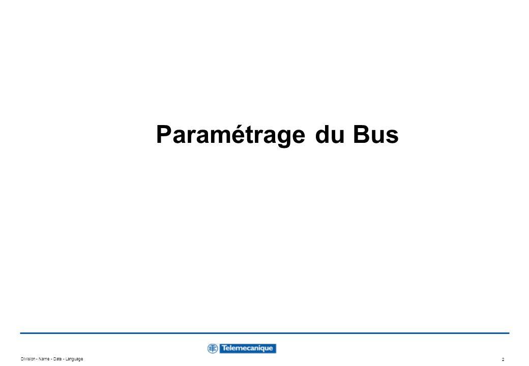 Division - Name - Date - Language 2 Paramétrage du Bus