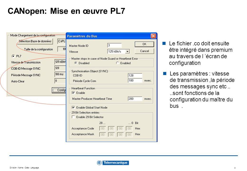 Division - Name - Date - Language 3 CANopen: Mise en œuvre PL7 Le fichier.co doit ensuite être intégré dans premium au travers de l écran de configura