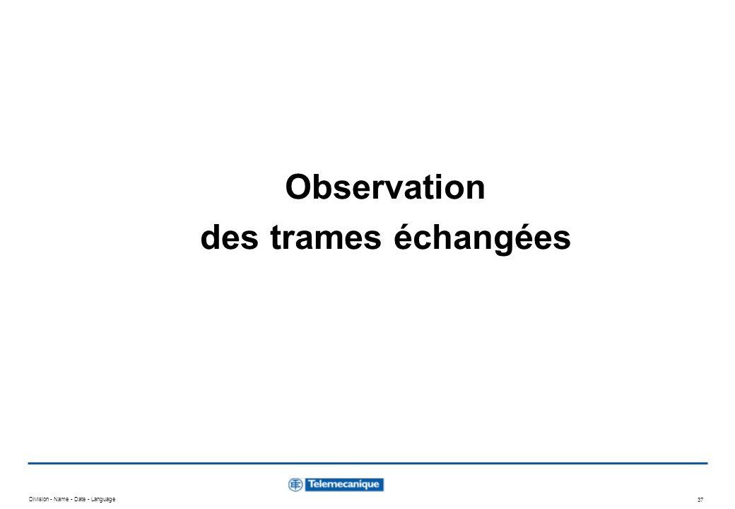 Division - Name - Date - Language 37 Observation des trames échangées