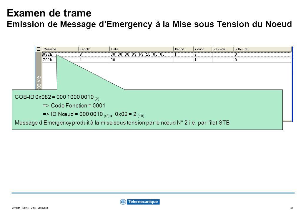 Division - Name - Date - Language 38 Examen de trame Emission de Message dEmergency à la Mise sous Tension du Noeud COB-ID 0x082 = 000 1000 0010 (2) =