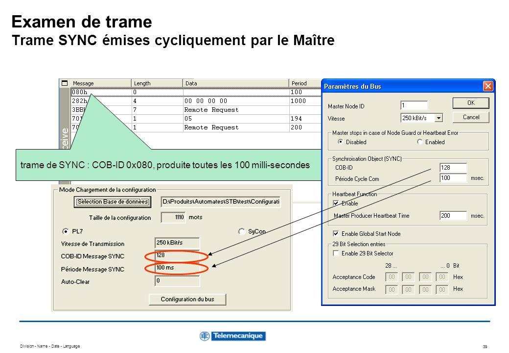 Division - Name - Date - Language 39 trame de SYNC : COB-ID 0x080, produite toutes les 100 milli-secondes Examen de trame Trame SYNC émises cycliqueme
