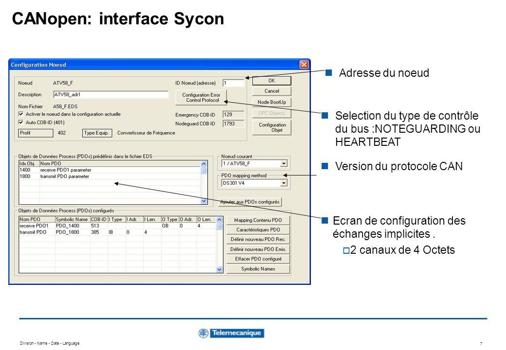 Division - Name - Date - Language 7 CANopen: interface Sycon Ecran de configuration des échanges implicites. 2 canaux de 4 Octets Selection du type de