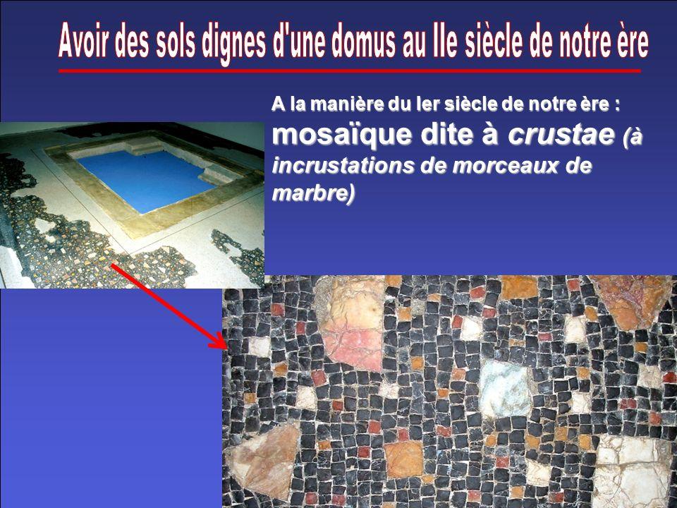 A la manière du Ier siècle de notre ère : mosaïque dite à crustae (à incrustations de morceaux de marbre)
