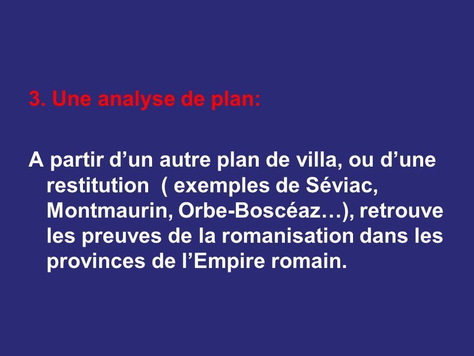 3. Une analyse de plan: A partir dun autre plan de villa, ou dune restitution ( exemples de Séviac, Montmaurin, Orbe-Boscéaz…), retrouve les preuves d